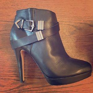 Aldo Black Leather Buckle Heeled Booties, Size 9